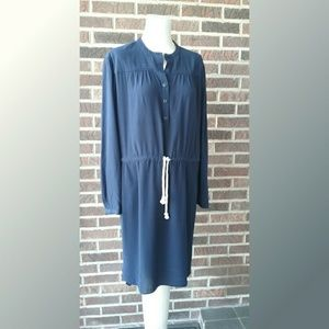 J. Crew Navy High Low Dress with Mandarin Collar